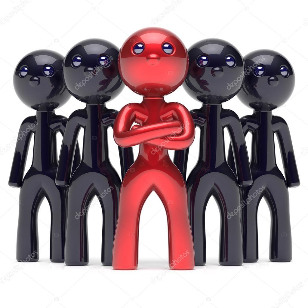 Trabajo en equipo liderazgo jefe estilizada roja líder icono ...
