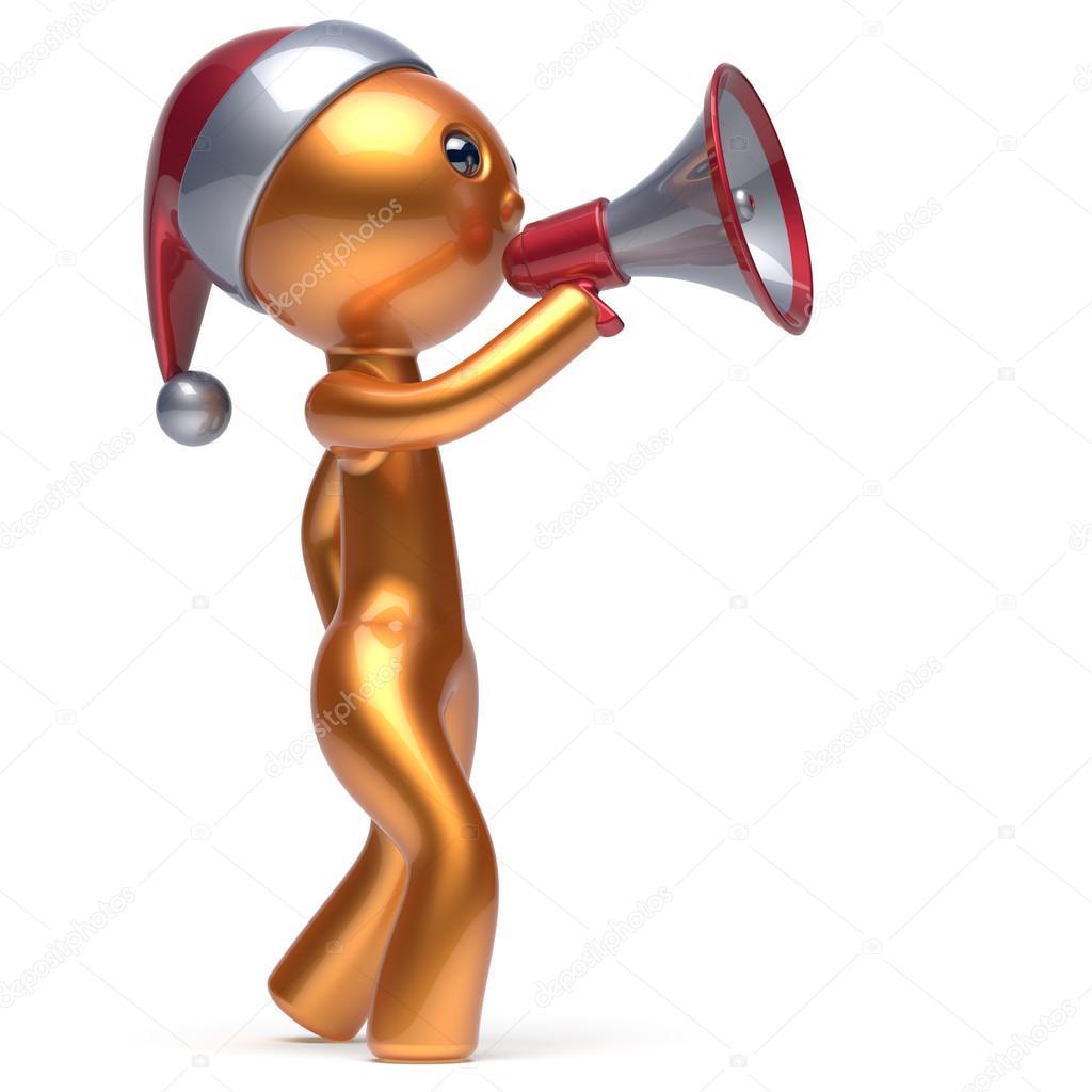 Frohe Weihnachten Mann golden Sprechen Megaphon Sankt-Hut ...