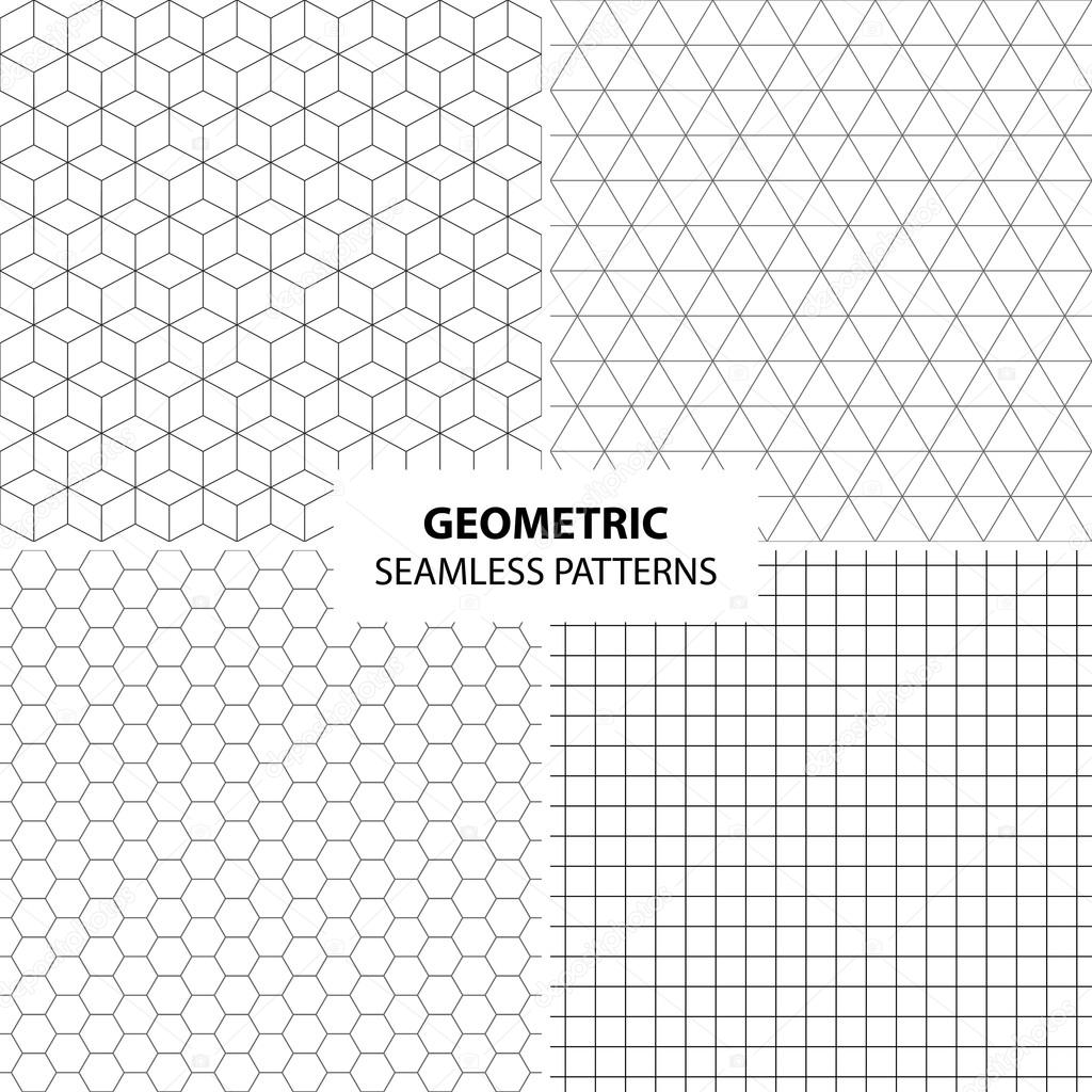 Set Of Simple Geometric Patterns   Seamless Backgrounds. U2014 Vector By Sheunw