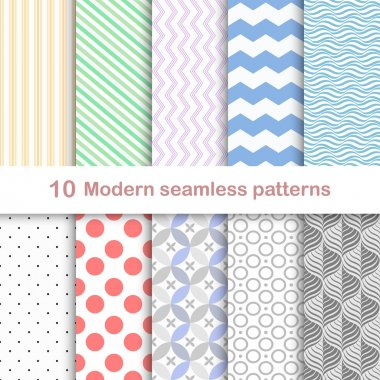 10 Different modern vector patterns, seamless