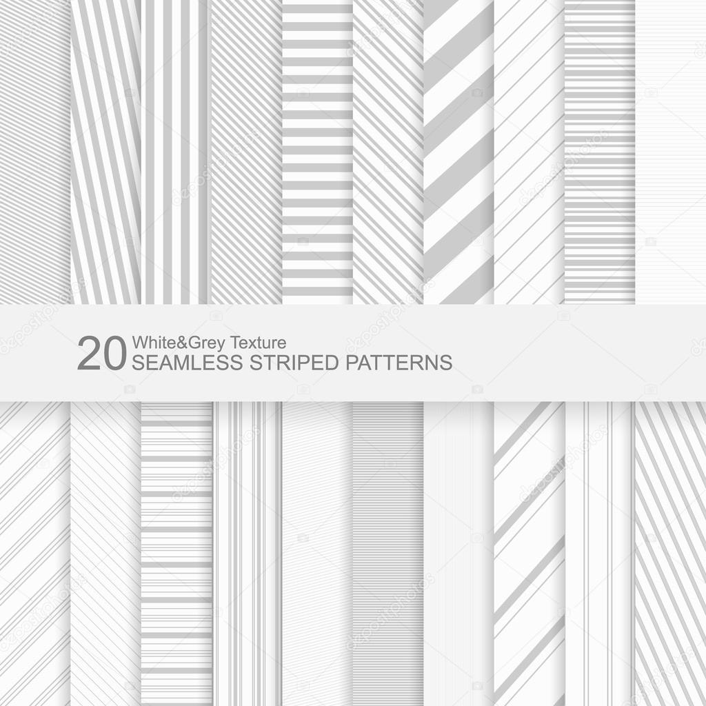 20 Seamless striped vector patterns, white and grey texture.