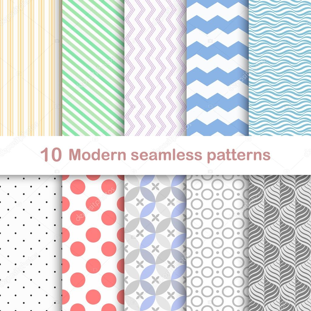 10 Different modern vector patterns, seamless