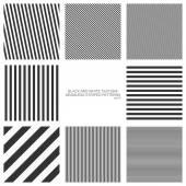 sada bezešvé vzory, rovné pruhy, černé a bílé textury. vektorové pozadí