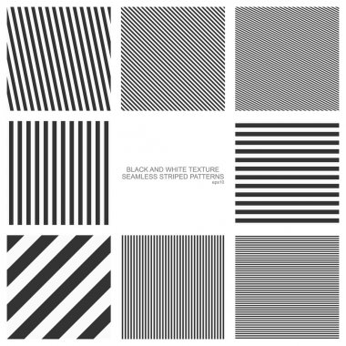 Set of seamless patterns, straight stripes, black and white texture. Vector backgrounds eps10 stock vector