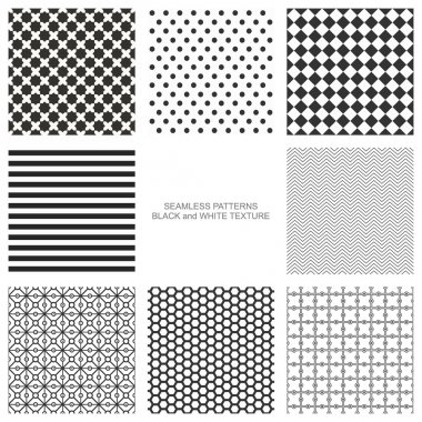 Set of simple seamless patterns, black and white texture