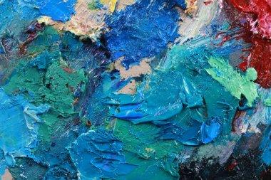 """Картина, постер, плакат, фотообои """"макро-палитра художника, текстурные смешанные масляные краски разных цветов и насыщенность студии картина натюрморт арт"""", артикул 461497808"""