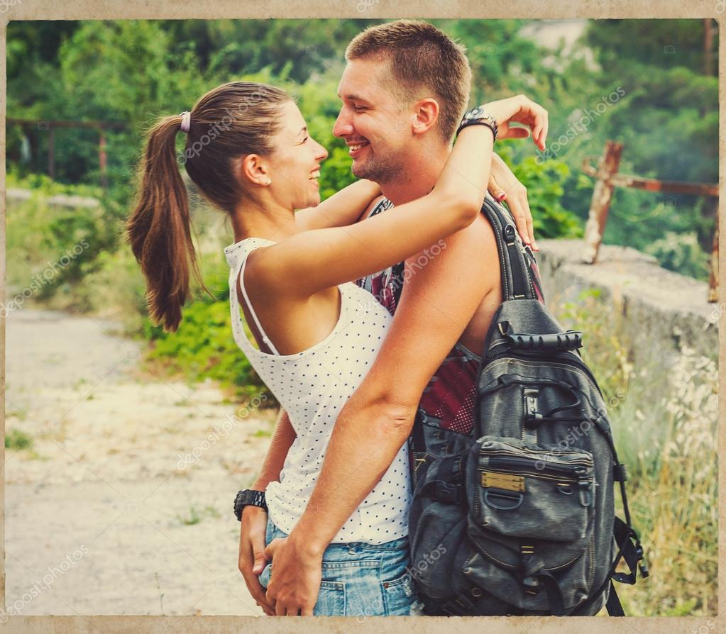 Couple in love together summer time happy people  outdoors