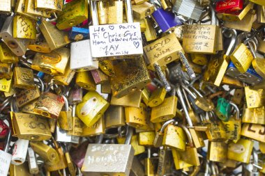 padlocks hanging on wall as symbols of love