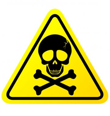 Skull danger sign vector