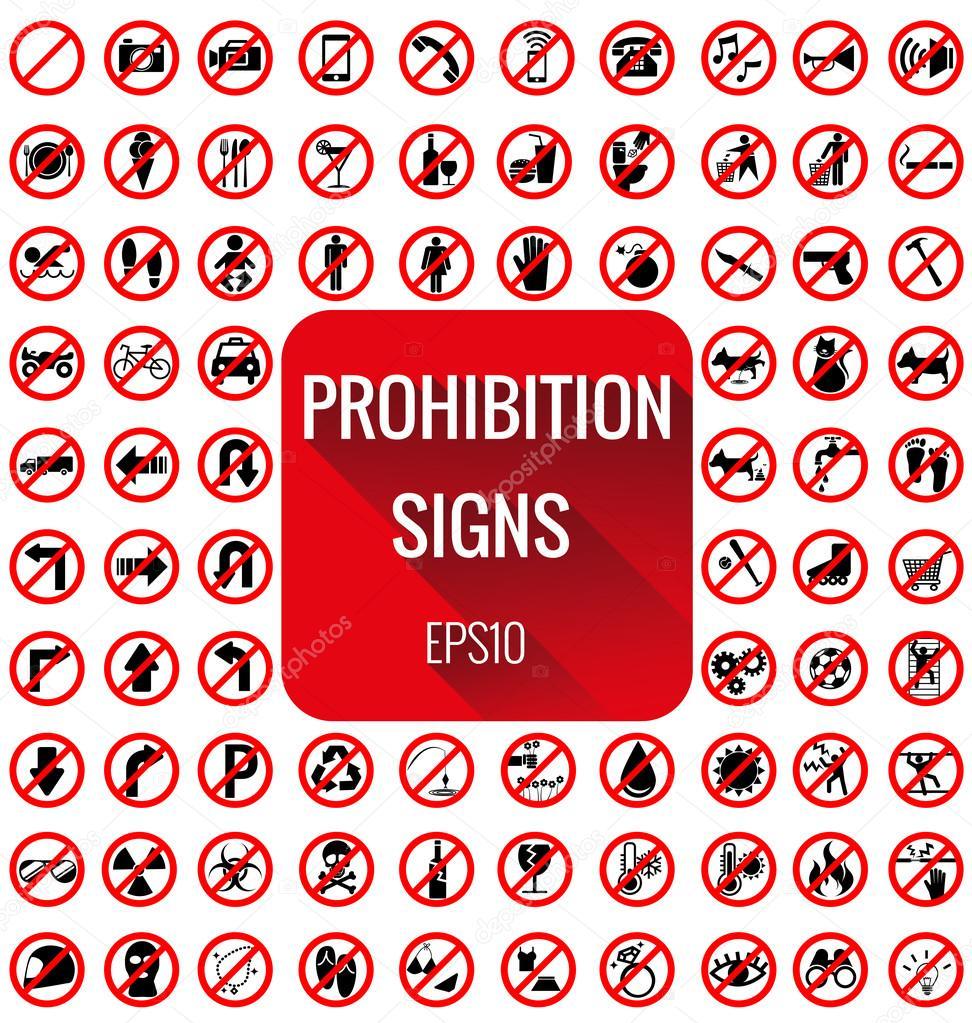 Prohibition signs vecter set