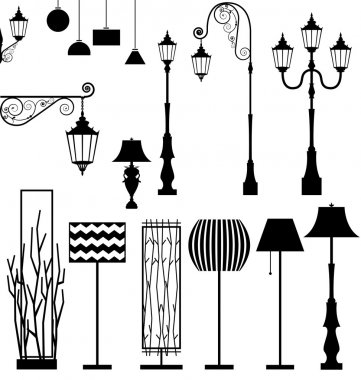 Vintage and modern  lamp vector set