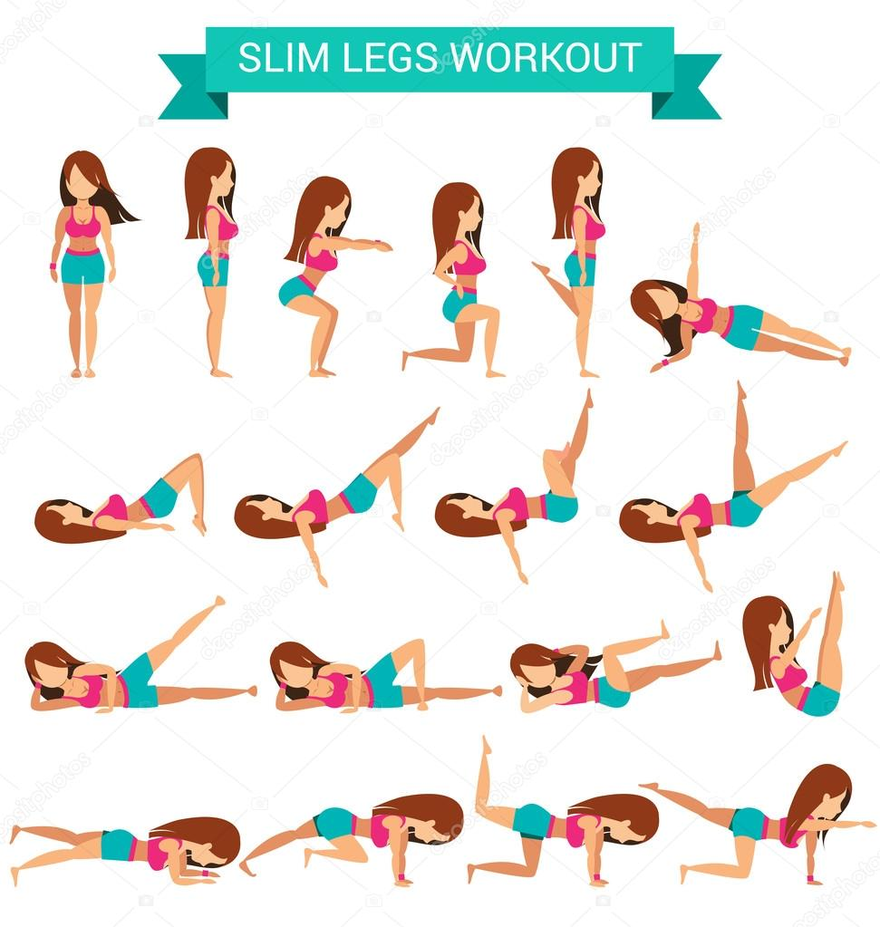 Set of cardio exercise for slim legs workout — Stock ...