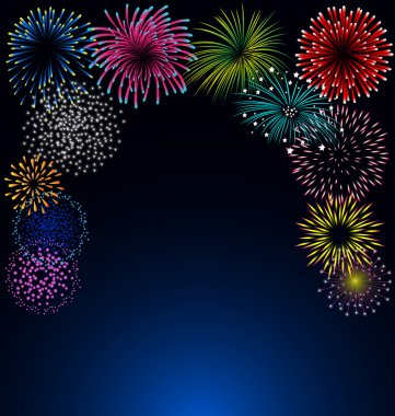 Colorful fireworks on blue background