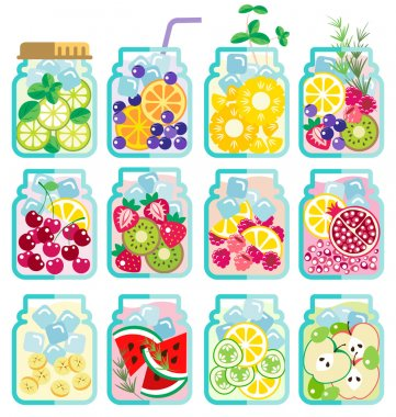 Collection of Infused water with fresh fruit