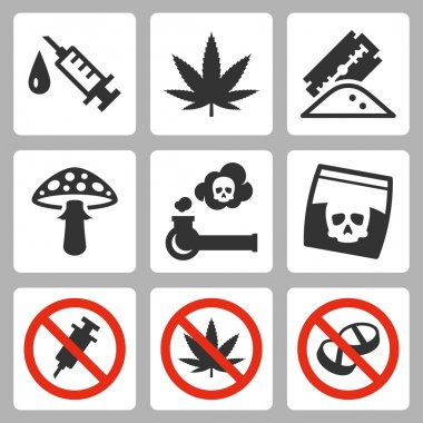Illegal drugs icons set