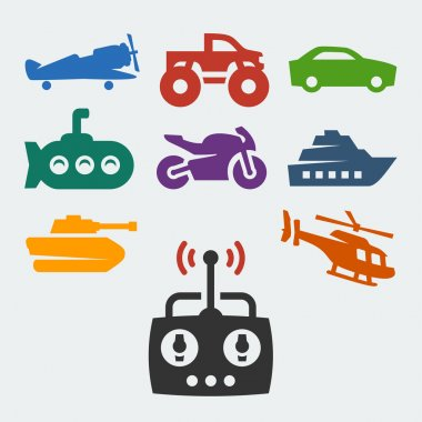 Remote control toys icons set