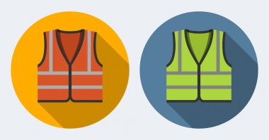 Orange and green safety vests icons