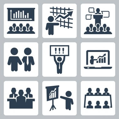 Business people related icons set