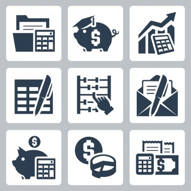 Budget, accounting icons set