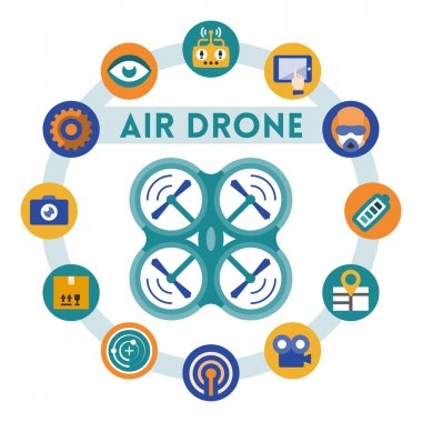 Air drone or quadrocopter related infographic
