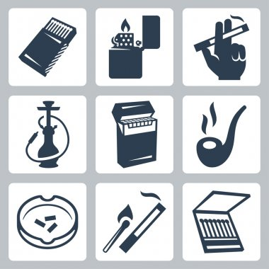 Smoking related icons set