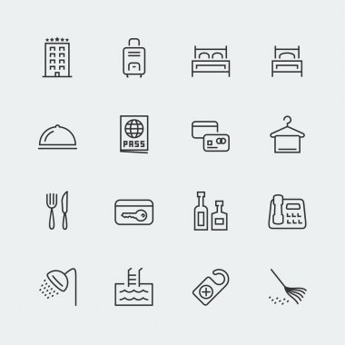Hotel related icons set