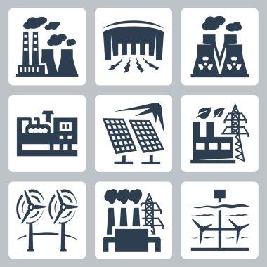 Power plants icons set