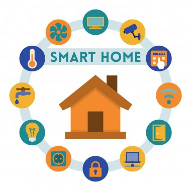 Smart home related infographics and icons, flat style clip art vector