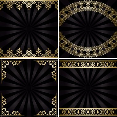 backgrounds with gold decorations and rays - black vintage vecto