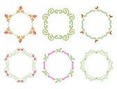 Round floral frames - vector set