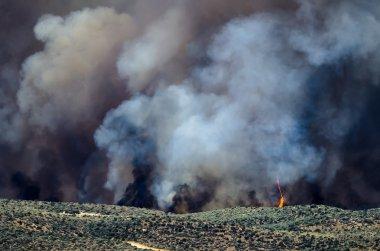 Azgın söndürülmesi güç ateş yükselen yoğun beyaz duman ve alevler