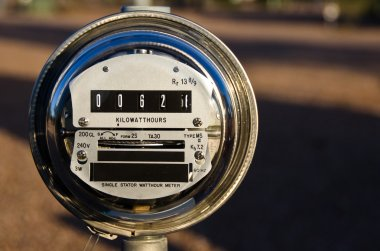 Electric Meter Displaying Current Power Consumption