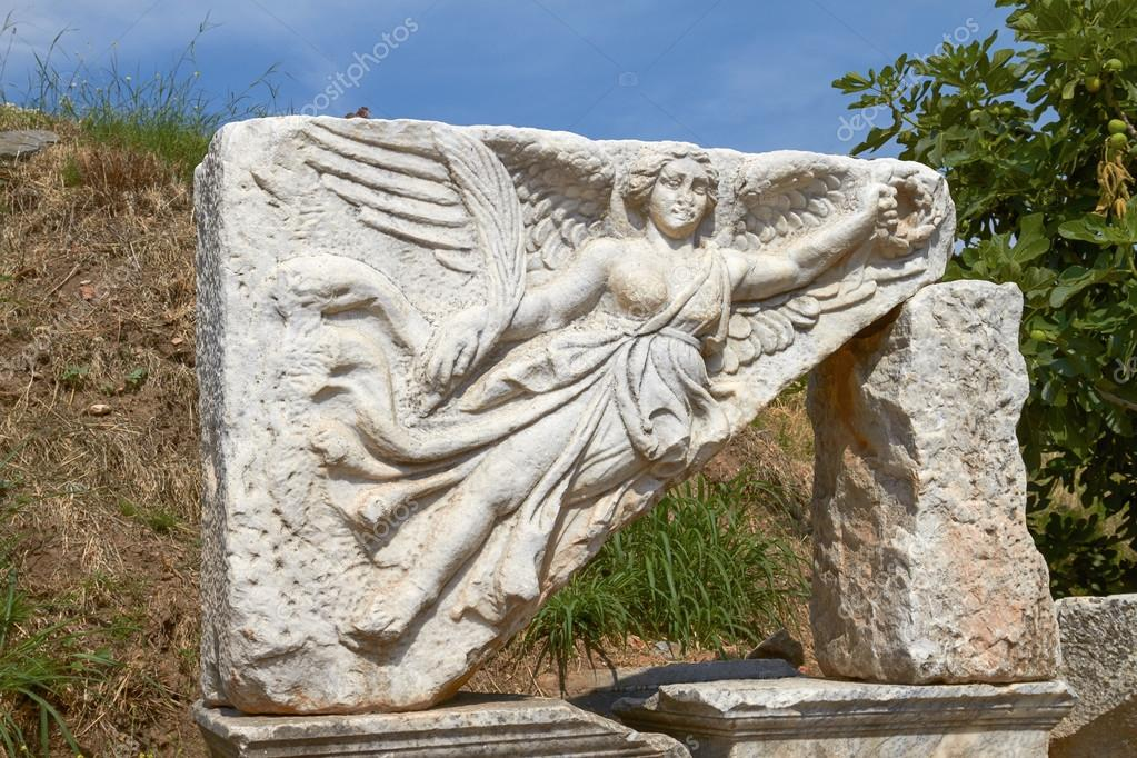 Stone Carving of the Goddess Nike in Ancient Ephesus Turkey. She is the  Goddess of Victory in Greek Mythology. — Photo by jirivondrous