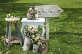 Fotografie Wood hand made welcome wedding decoration