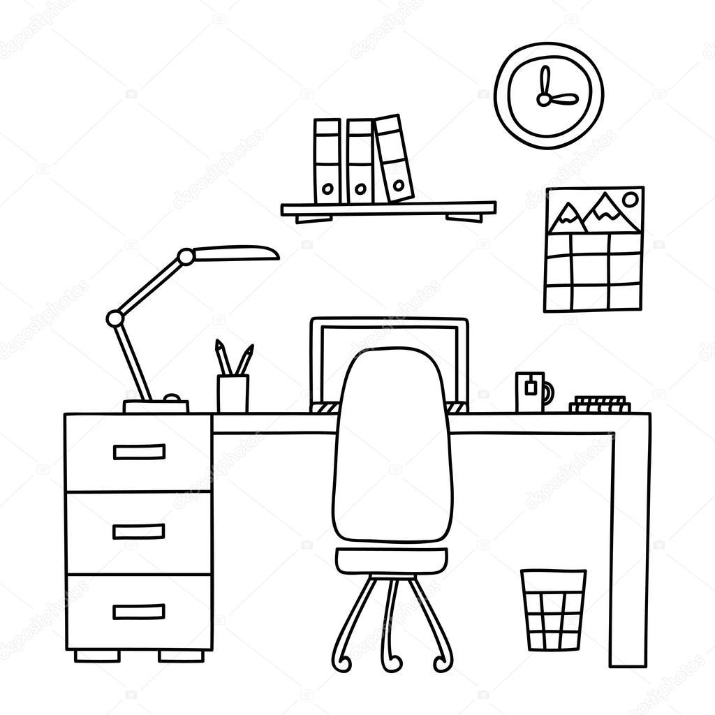 Schreibtisch gezeichnet  mit einem Computer oder Arbeitsplatz im Büro von Hand Doodle-Stil ...