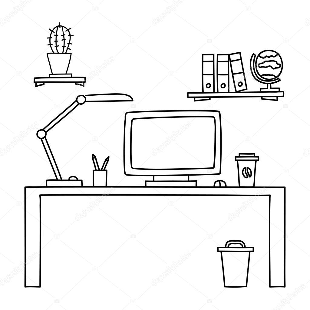 Bureau Met Een Computer Of Werkplek Op Kantoor Met De Hand