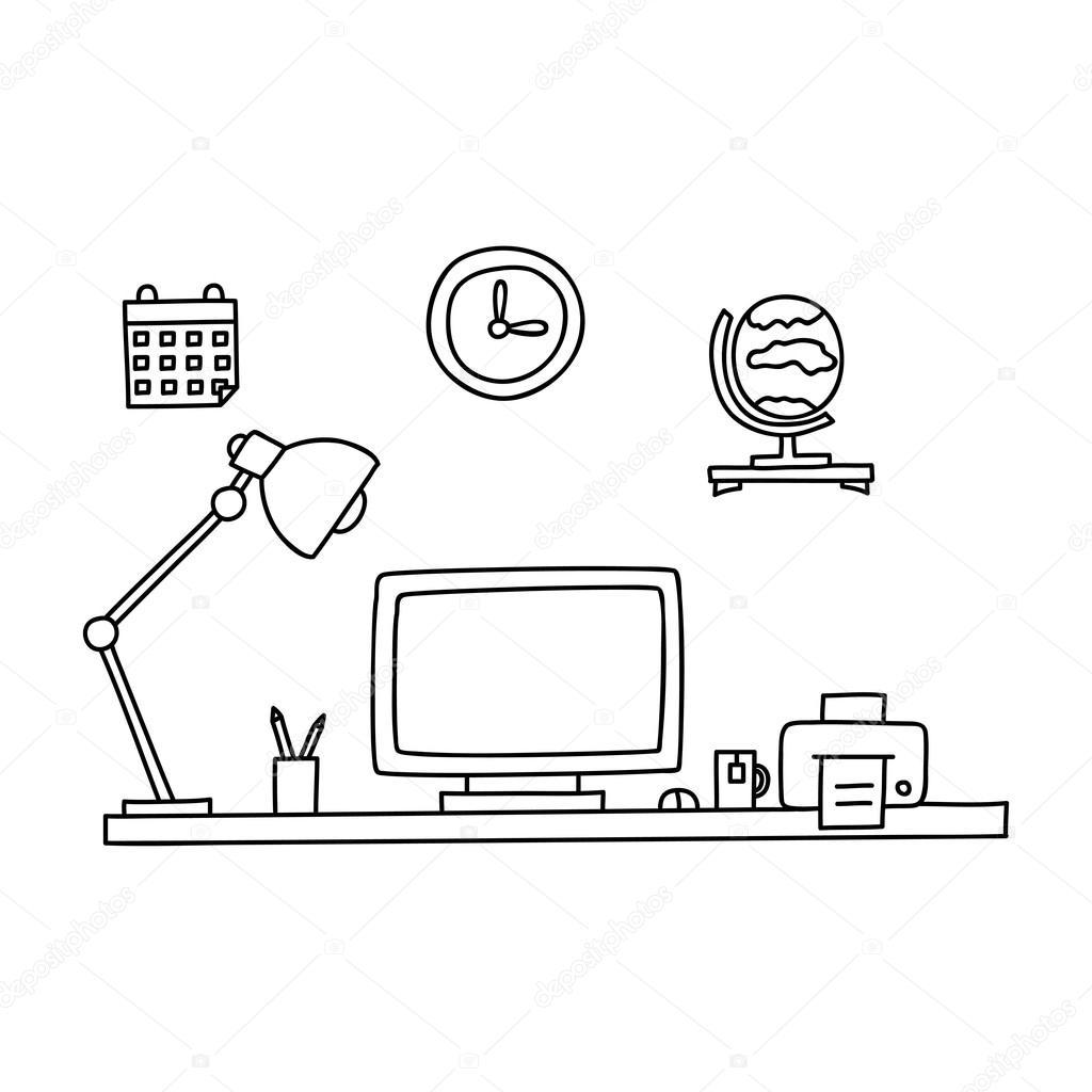 Schreibtisch gezeichnet  Schreibtisch mit einem Computer oder Arbeitsplatz im Büro von Hand ...
