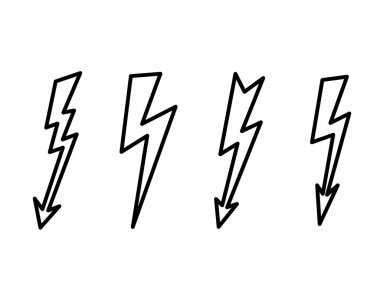 Vector  contour, line illustration of lightning.