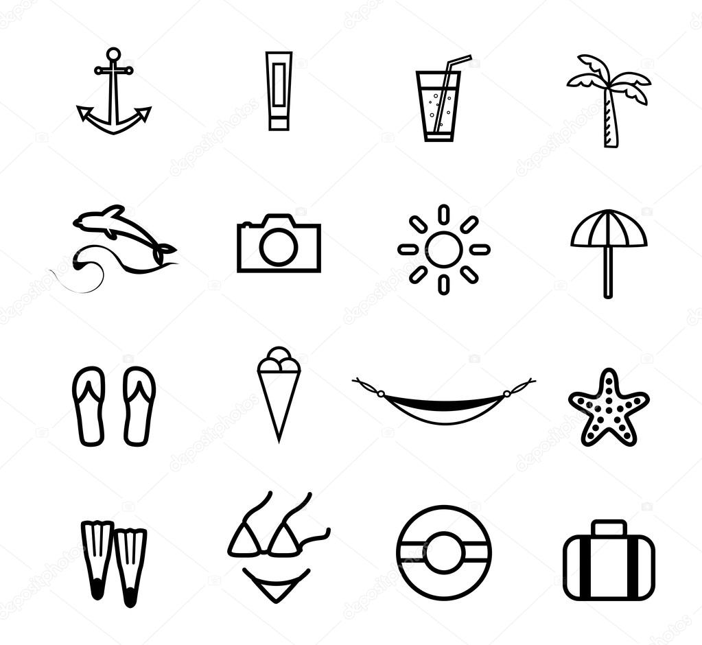 Travel and vacation Icons set . Vector Illustration