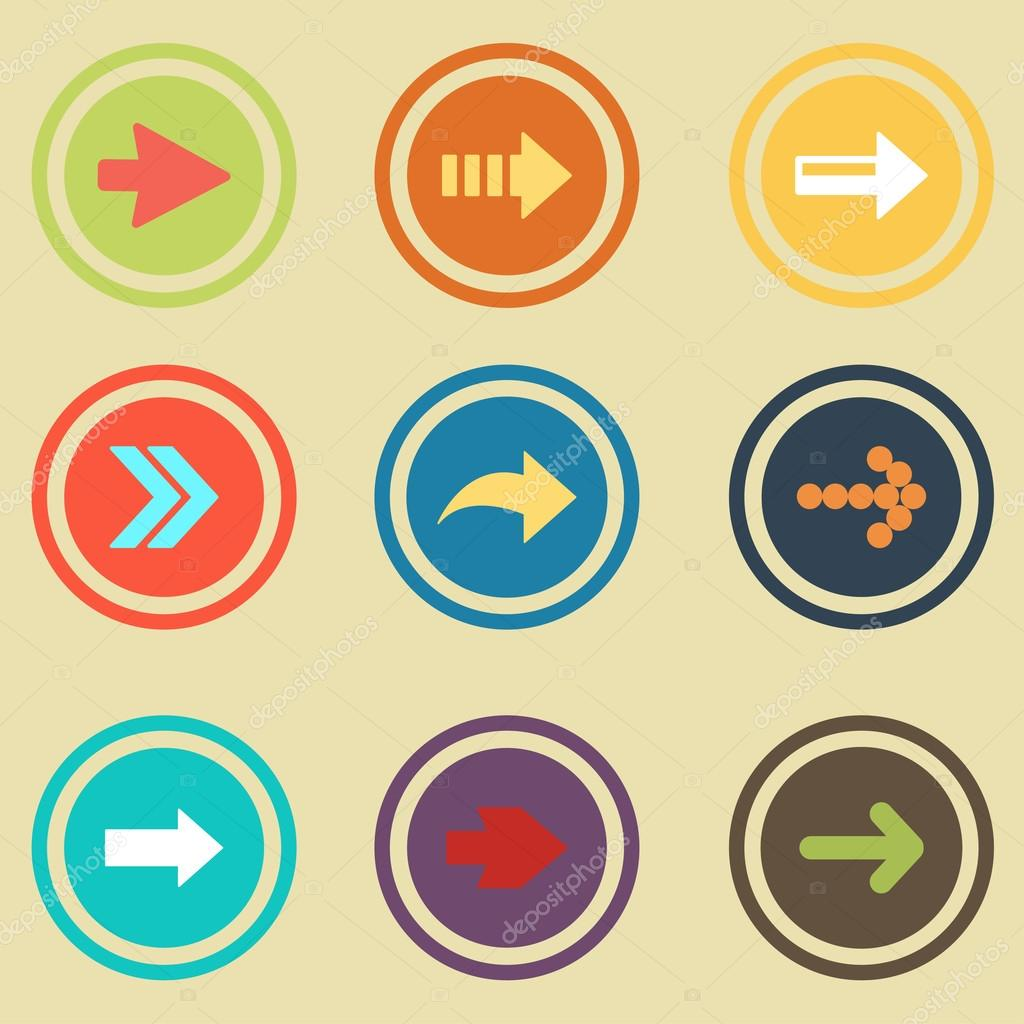 Pfeilzeichen Wohnung Symbolsatz. Einfache Internet-Button ...