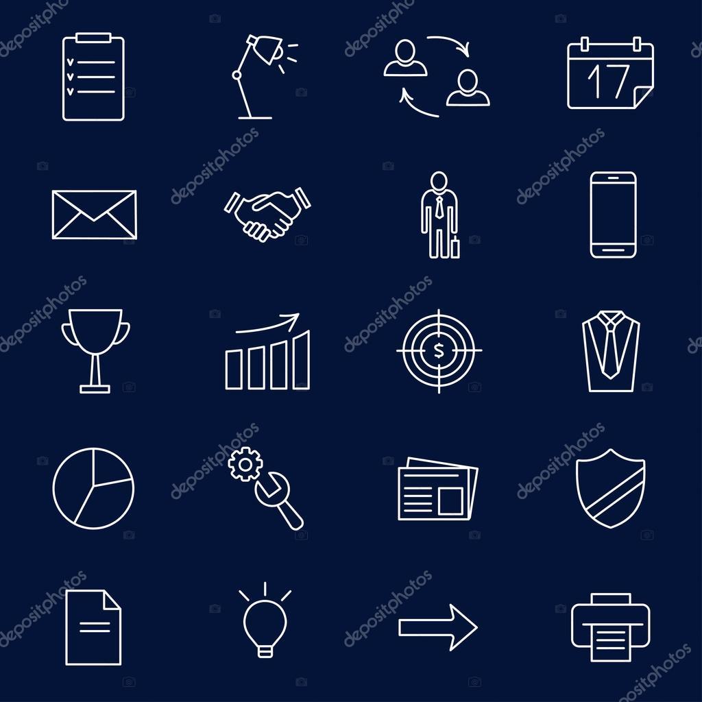 02f17f5cf9095 Conjunto de iconos lineal web para negocios