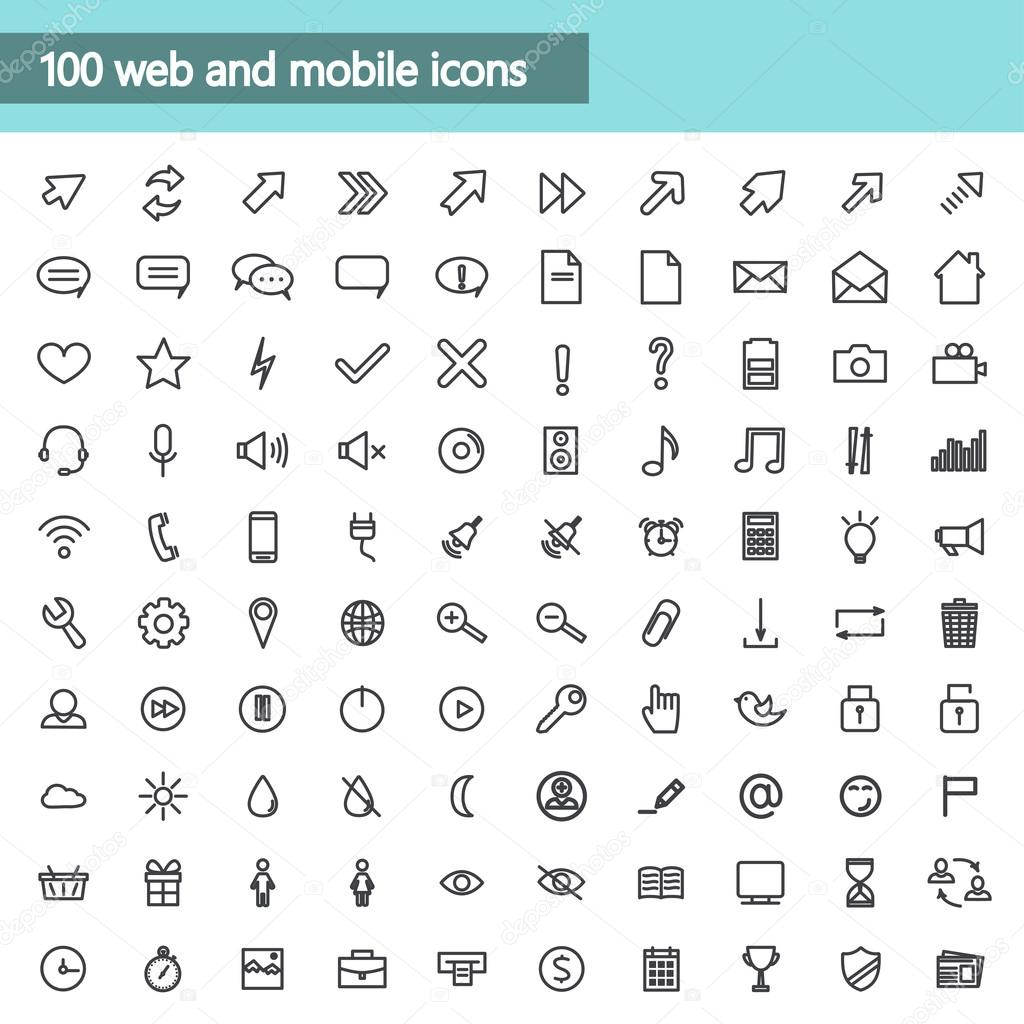 Universal linear Icons For Web and Mobile,communications. Vector illustration.