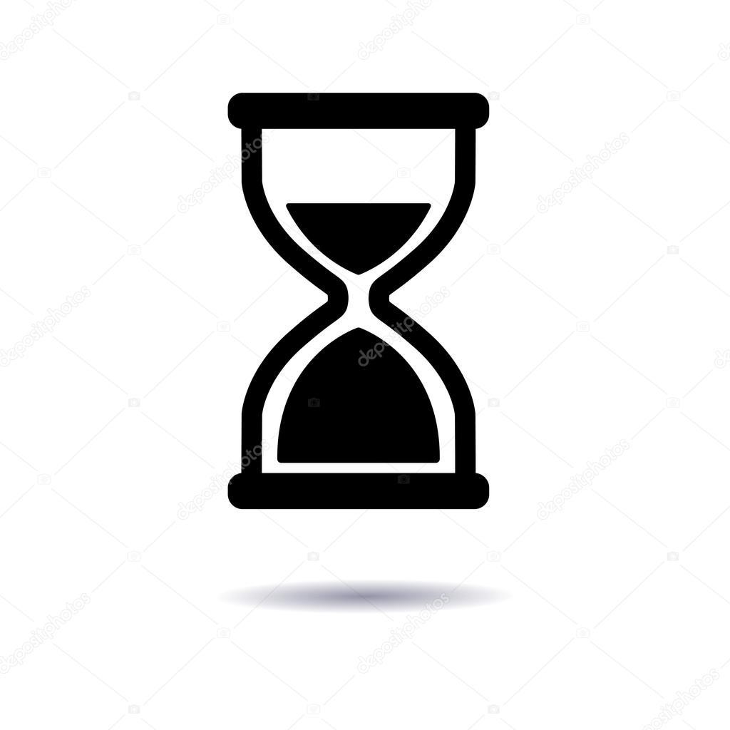 Sanduhr icon  Illustration, Symbol Sanduhr flache Bauform, ein Symbol der Zeit ...