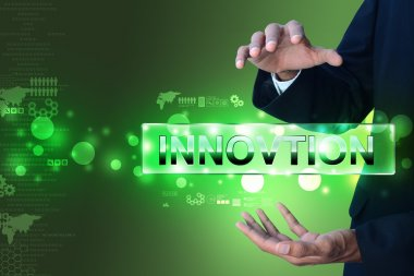 Hands with the word innovation