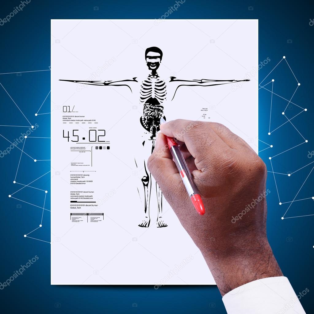 médico con el diagrama del cuerpo humano — Foto de stock ...