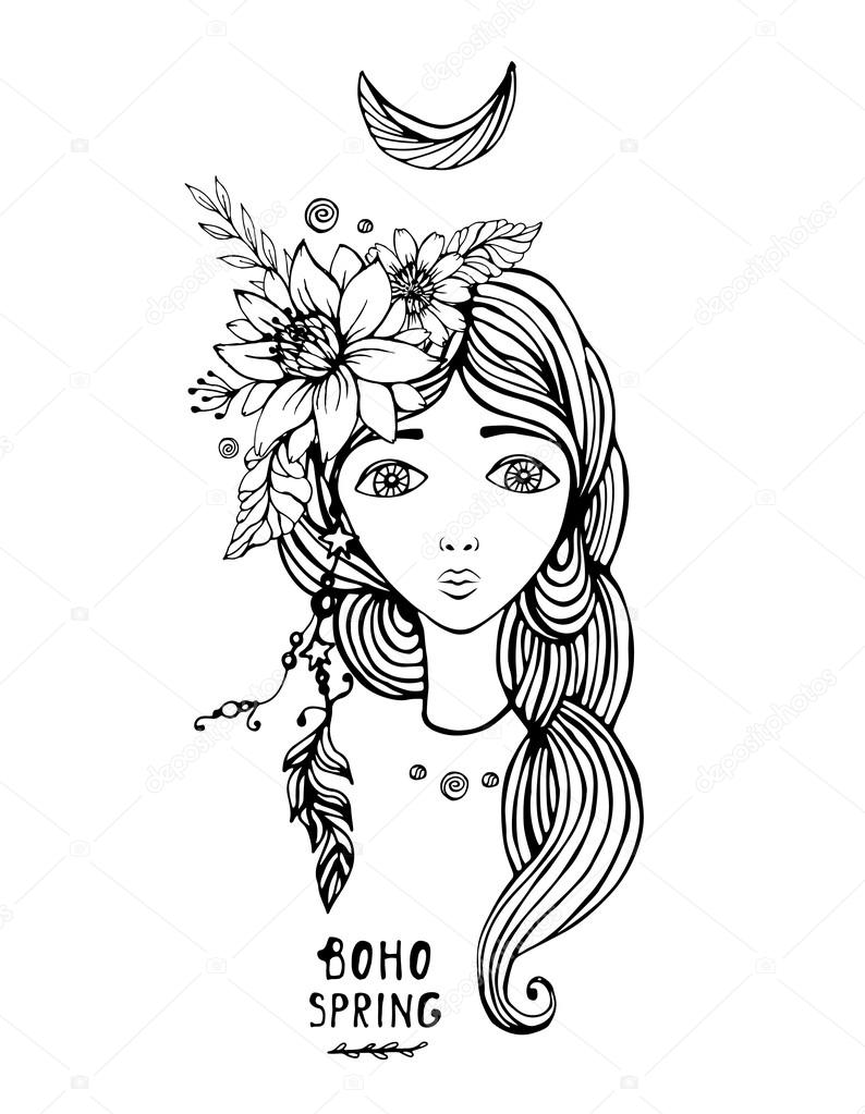 Boho Style girl. Vector illustration. Spring flowers elements.