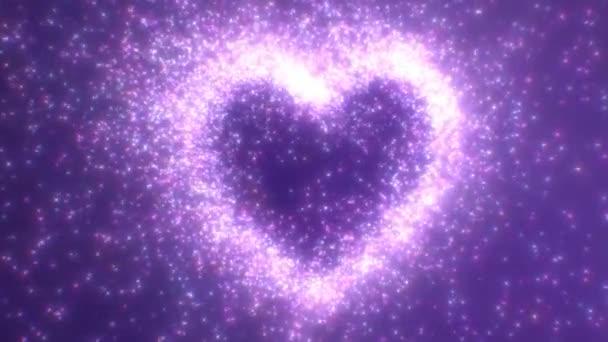 Gyönyörű ragyogó szerelem szív alakú elvont fény részecskék szikra - 4K zökkenőmentes VJ hurok mozgás háttér Animáció