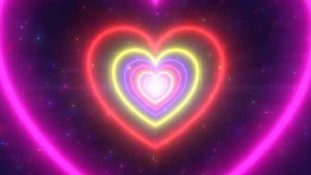 Neon Lights Love Heart Tunnel és romantikus elvont ragyogás részecskék - 4K zökkenőmentes hurok mozgás háttér Animáció