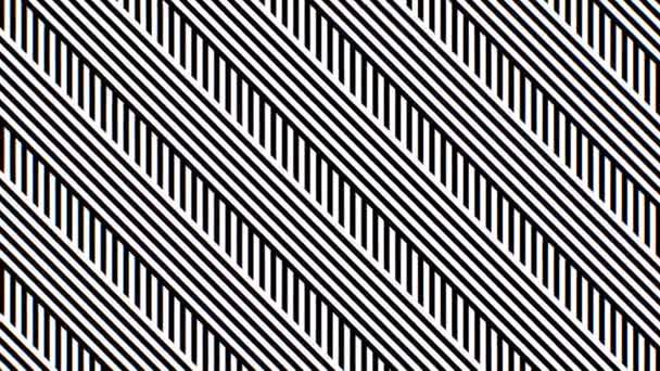 Fekete-fehér Diagonal Stripes Optikai Illúzió Moving Line Pattern - 4K Zökkenőmentes VJ Loop Motion Háttér Animáció