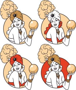 Sorceress with a magic ball portrait of a circle set